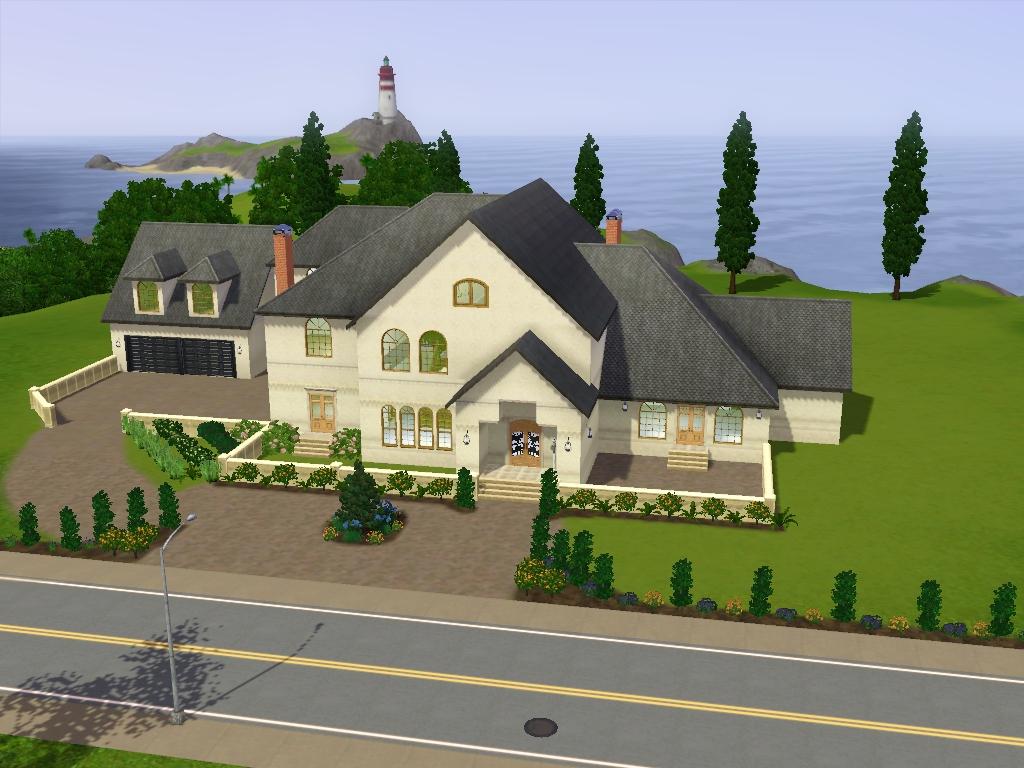 V randa avec charpente bois for Sims 3 family home ideas